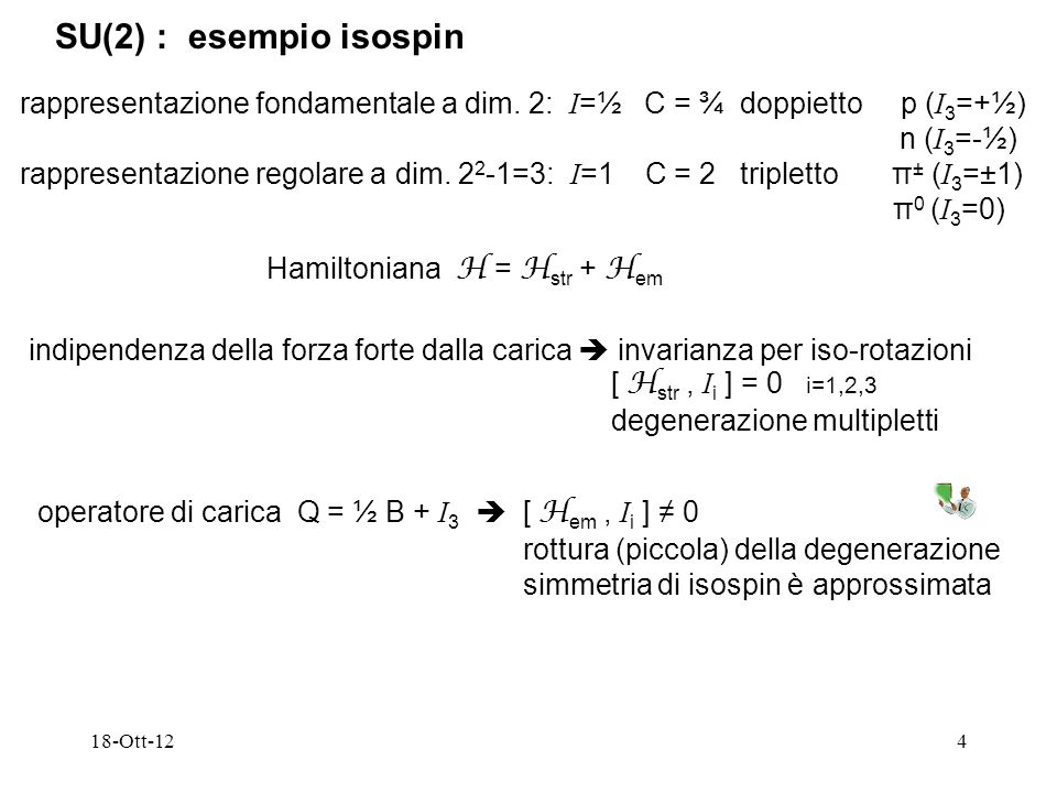 SU(2) : esempio isospinrappresentazione fondamentale a dim. 2: I=½ C = ¾ doppietto p (I3=+½)