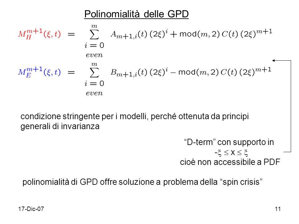 Polinomialità delle GPD