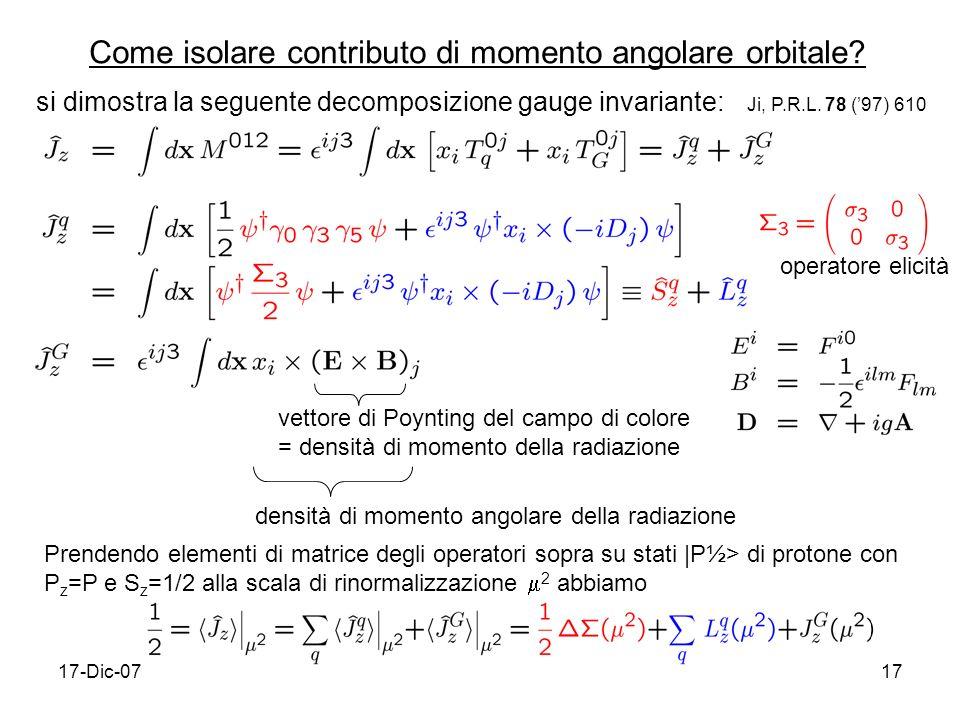 Come isolare contributo di momento angolare orbitale