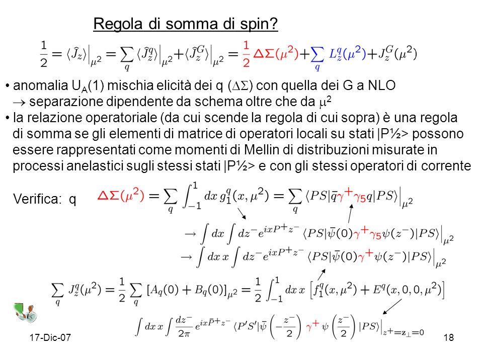 Regola di somma di spin anomalia UA(1) mischia elicità dei q () con quella dei G a NLO.  separazione dipendente da schema oltre che da 2.