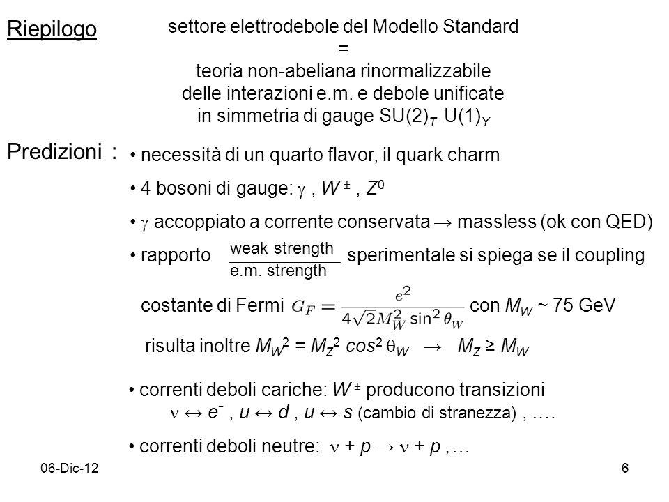 Riepilogo Predizioni : settore elettrodebole del Modello Standard =