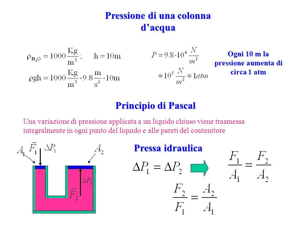 Pressione di una colonna d'acqua Principio di Pascal Pressa idraulica