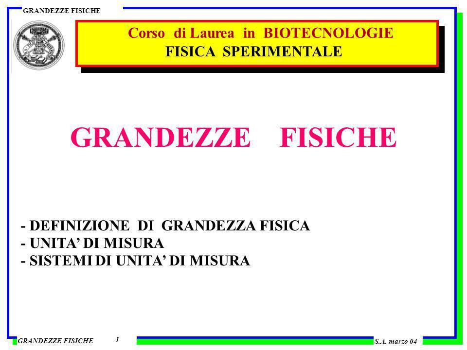 GRANDEZZE FISICHE Corso di Laurea in BIOTECNOLOGIE FISICA SPERIMENTALE
