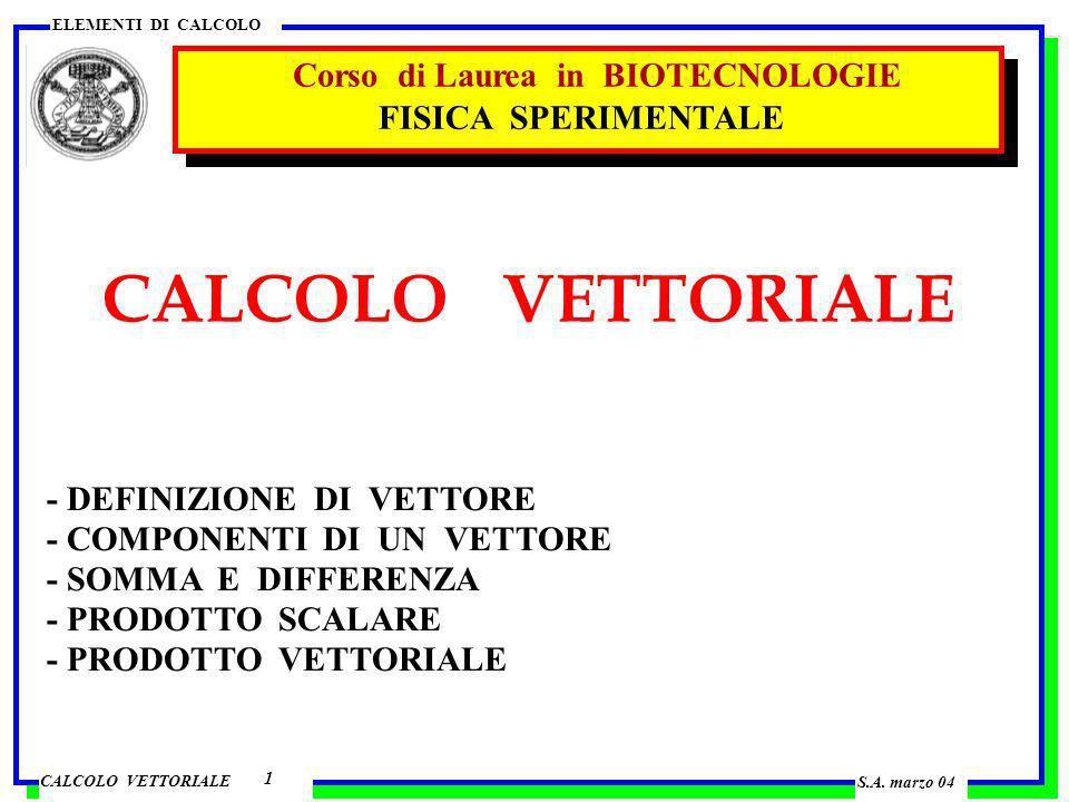 CALCOLO VETTORIALE Corso di Laurea in BIOTECNOLOGIE