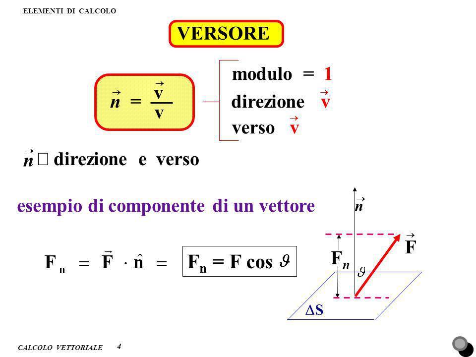 Fn = F cos VERSORE modulo = 1 v n = direzione v v verso v n