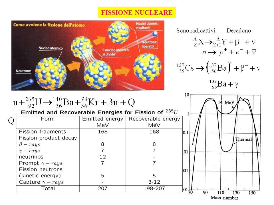 FISSIONE NUCLEARE Sono radioattivi Decadono