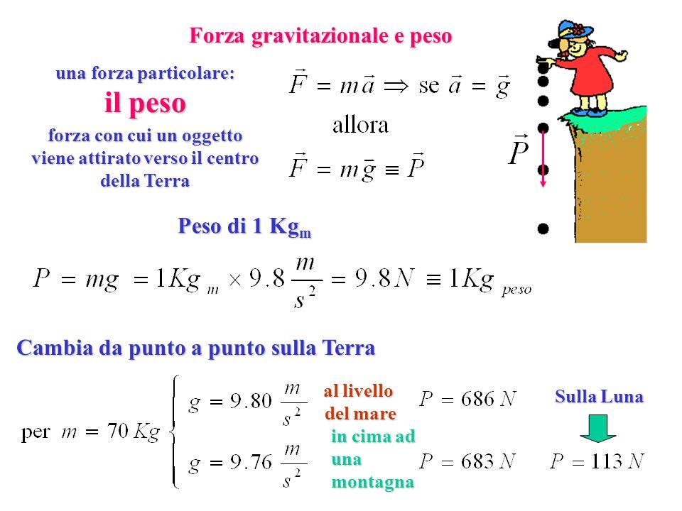 il peso Forza gravitazionale e peso Peso di 1 Kgm