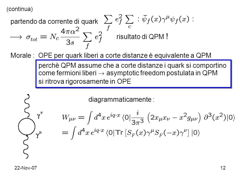 partendo da corrente di quark