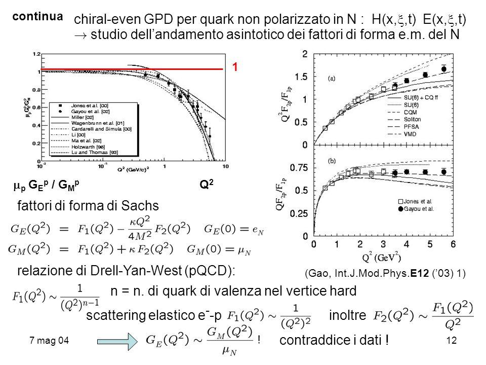 chiral-even GPD per quark non polarizzato in N : H(x,,t) E(x,,t)