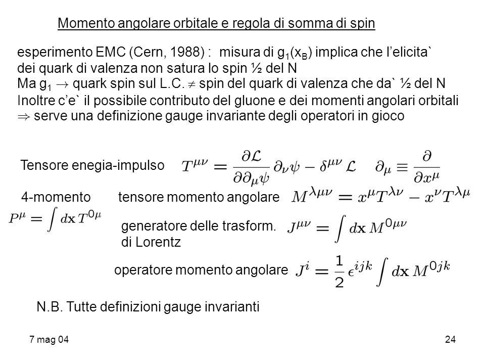 Momento angolare orbitale e regola di somma di spin