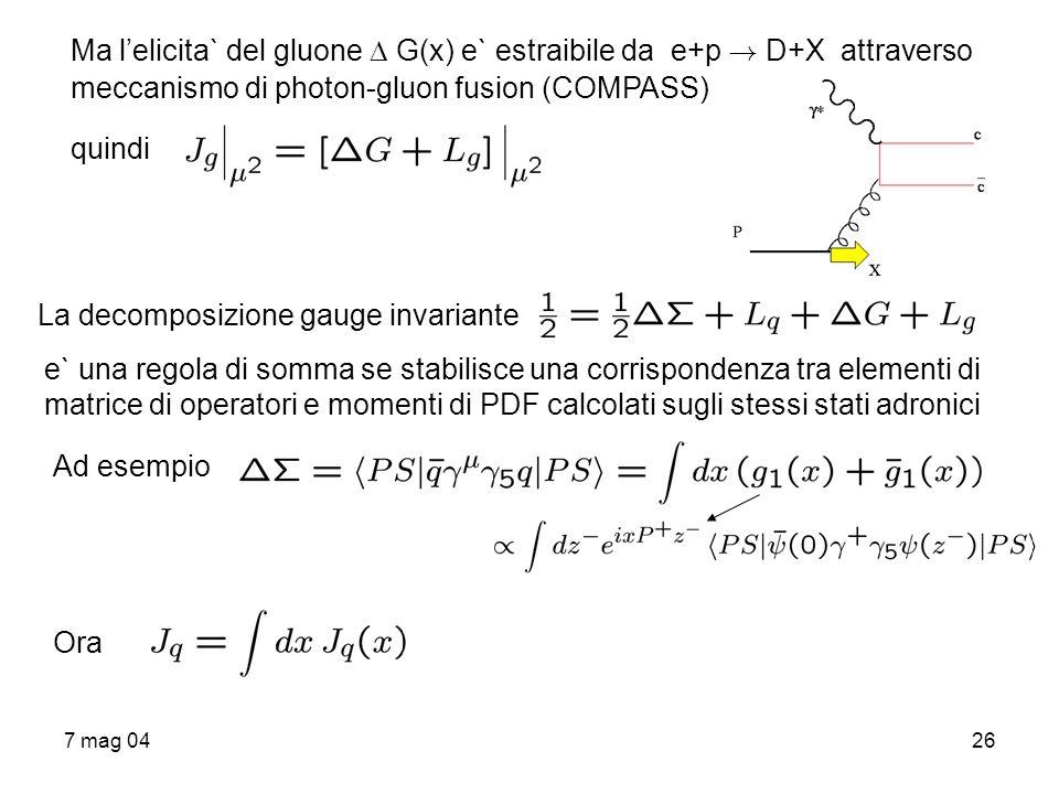 Ma l'elicita` del gluone  G(x) e` estraibile da e+p ! D+X attraverso