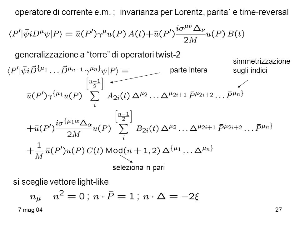 generalizzazione a torre di operatori twist-2