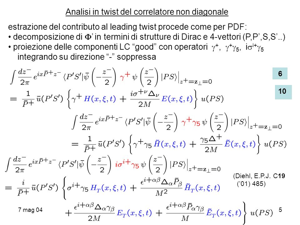 Analisi in twist del correlatore non diagonale