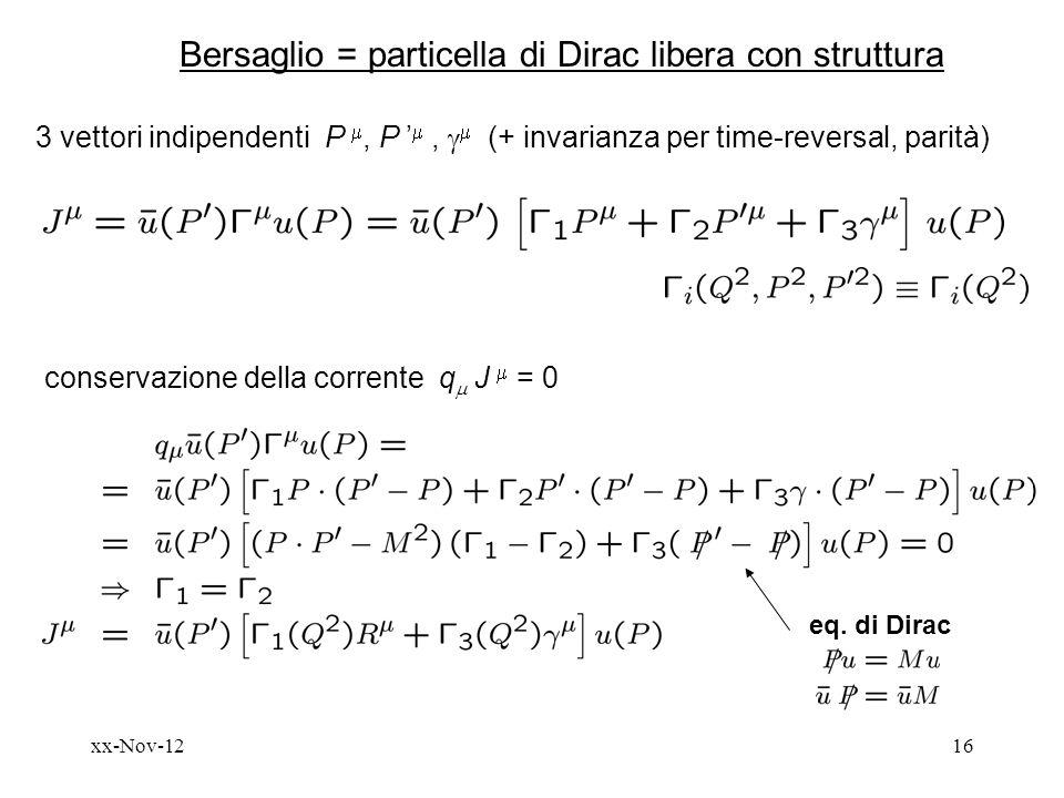 Bersaglio = particella di Dirac libera con struttura