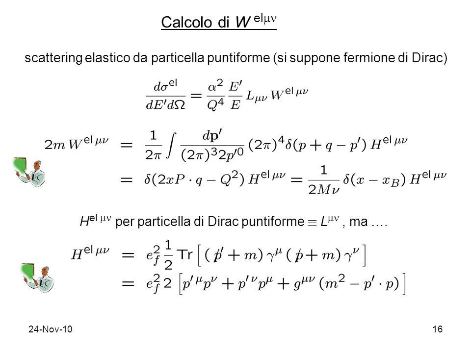 Calcolo di W el scattering elastico da particella puntiforme (si suppone fermione di Dirac)