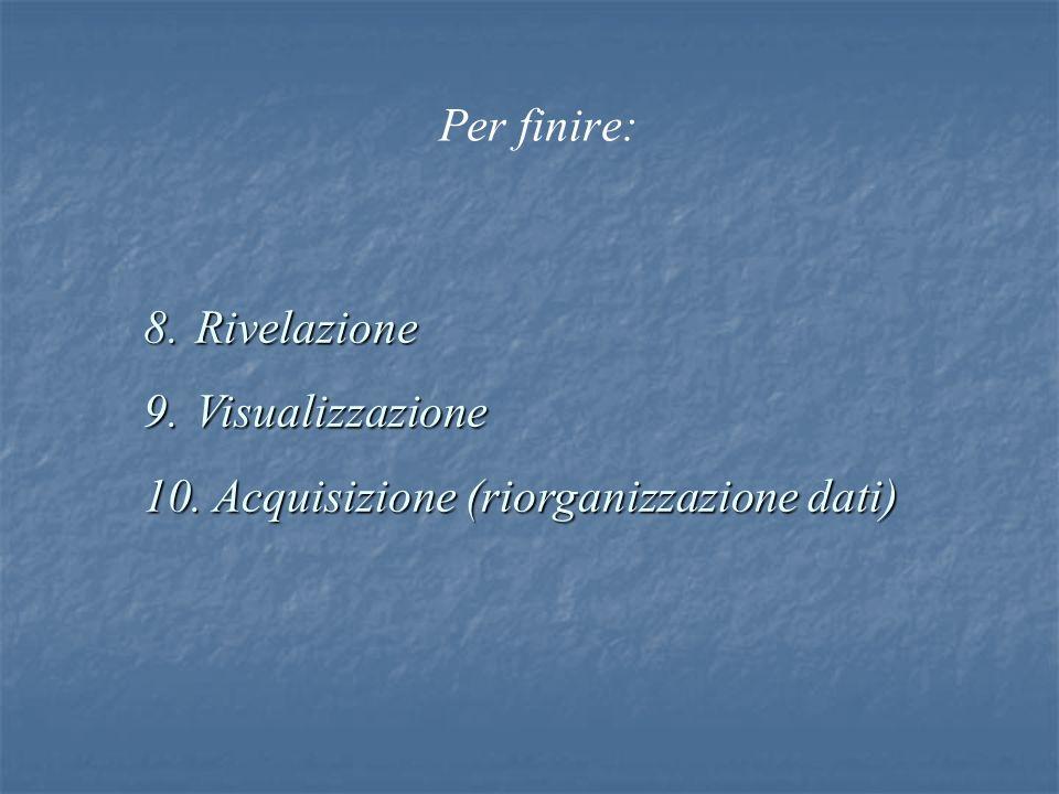 Per finire: Rivelazione Visualizzazione Acquisizione (riorganizzazione dati)