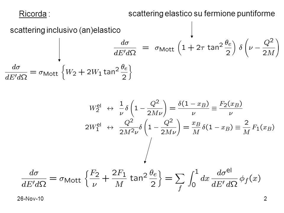 scattering elastico su fermione puntiforme