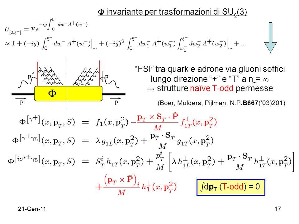 sdpT (T-odd) = 0  invariante per trasformazioni di SUc(3)