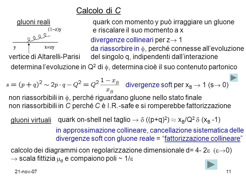 Calcolo di C gluoni reali quark con momento y può irraggiare un gluone
