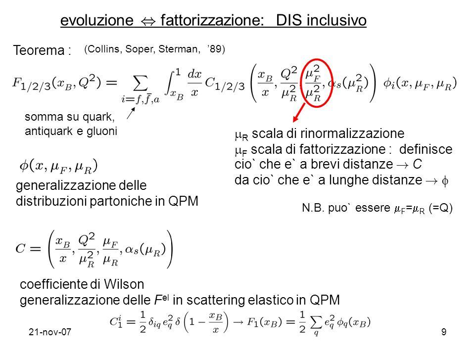 evoluzione , fattorizzazione: DIS inclusivo