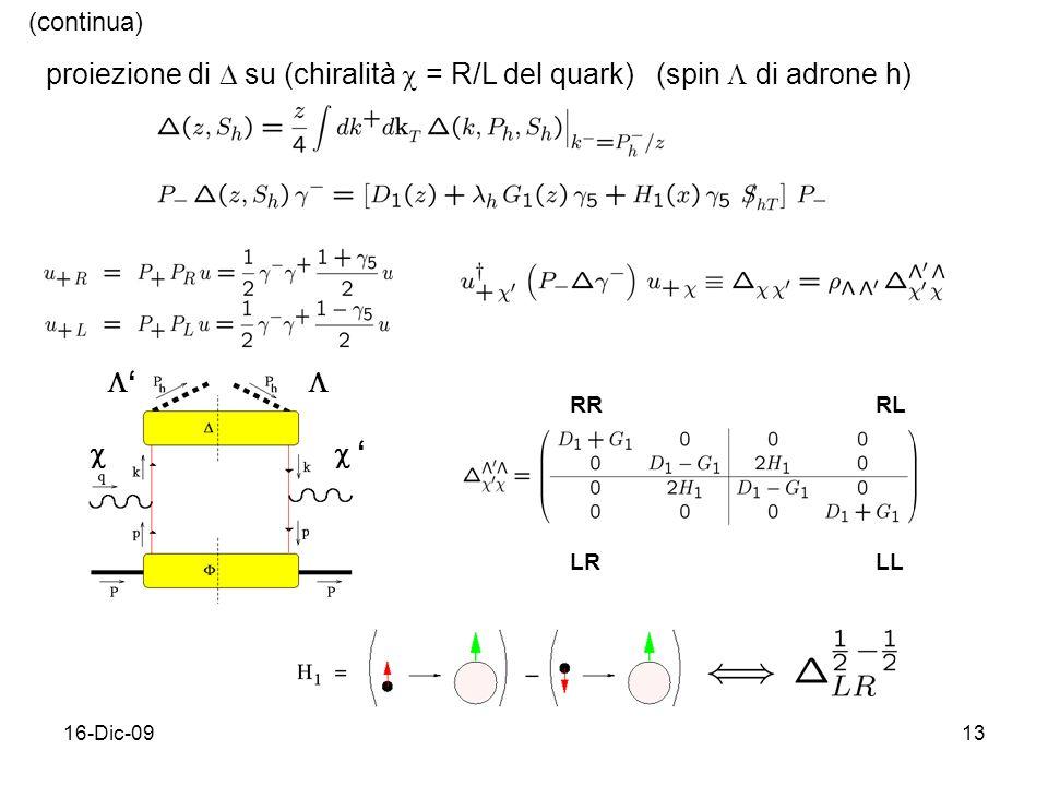 (continua) proiezione di  su (chiralità  = R/L del quark)  (spin  di adrone h) '  RR. RL.