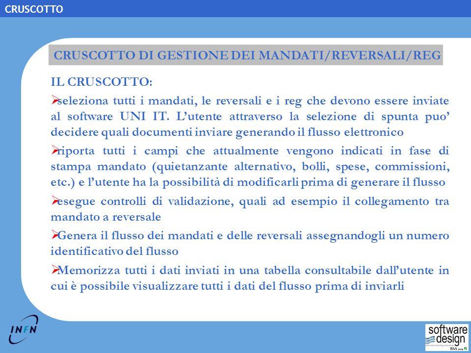 CRUSCOTTO DI GESTIONE DEI MANDATI/REVERSALI/REG