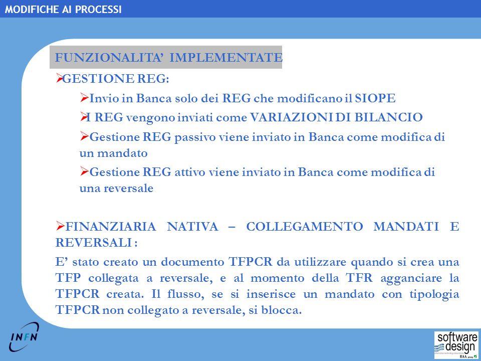 FUNZIONALITA' IMPLEMENTATE GESTIONE REG: