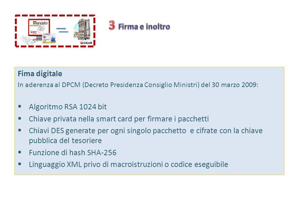3 Firma e inoltro Fima digitale Algoritmo RSA 1024 bit