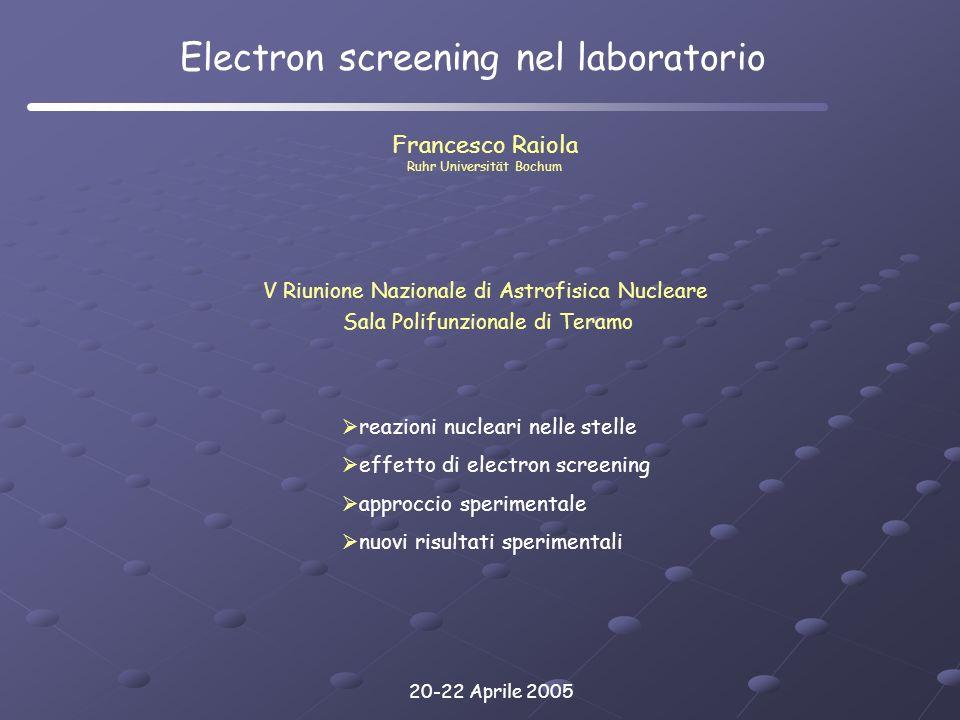 Electron screening nel laboratorio
