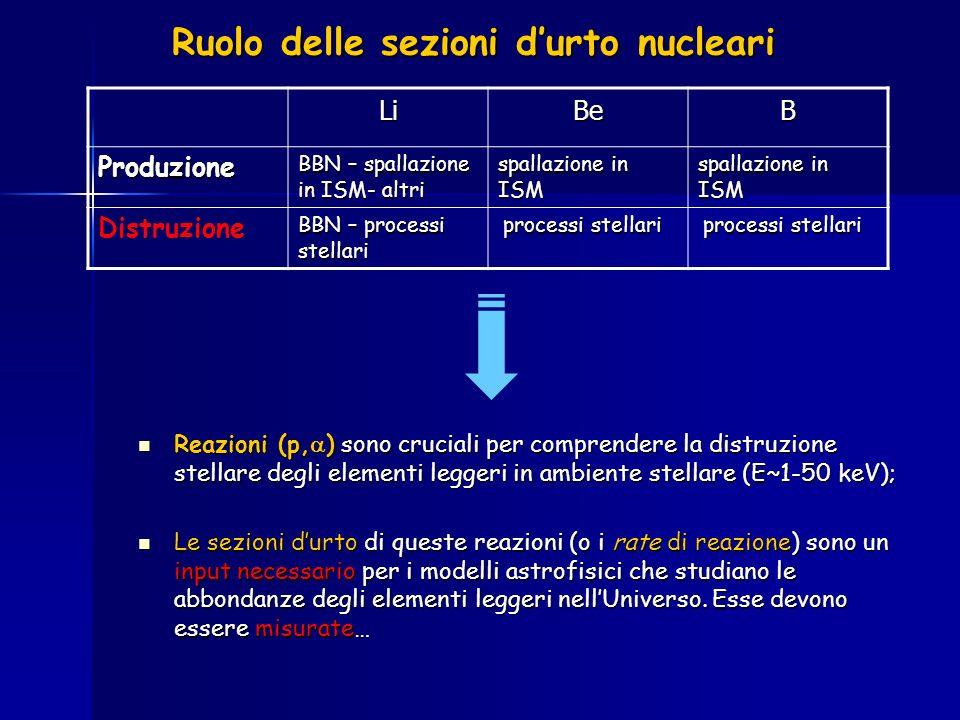 Ruolo delle sezioni d'urto nucleari
