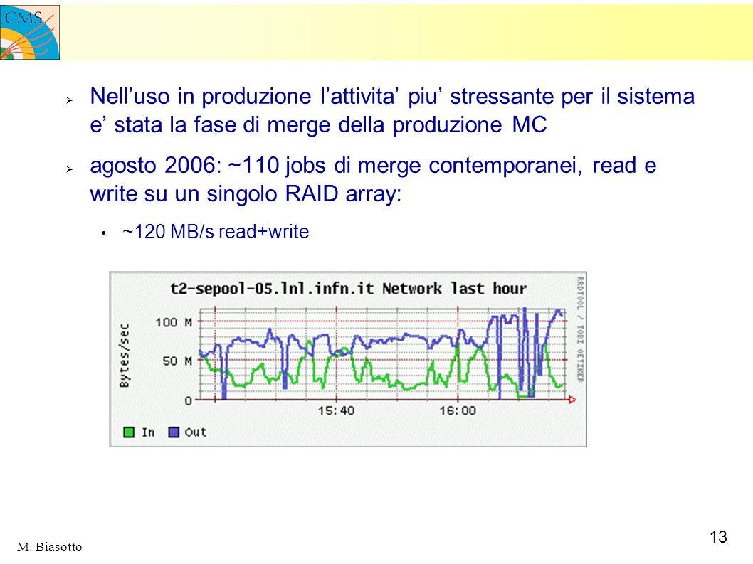 Nell'uso in produzione l'attivita' piu' stressante per il sistema e' stata la fase di merge della produzione MC