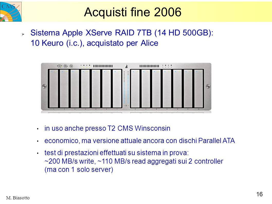 Acquisti fine 2006Sistema Apple XServe RAID 7TB (14 HD 500GB): 10 Keuro (i.c.), acquistato per Alice.