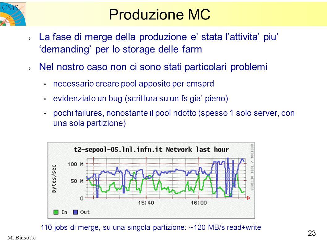 Produzione MC La fase di merge della produzione e' stata l'attivita' piu' 'demanding' per lo storage delle farm.