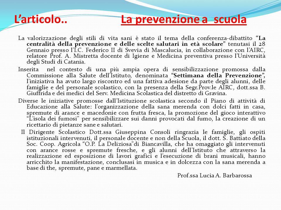 L'articolo.. La prevenzione a scuola