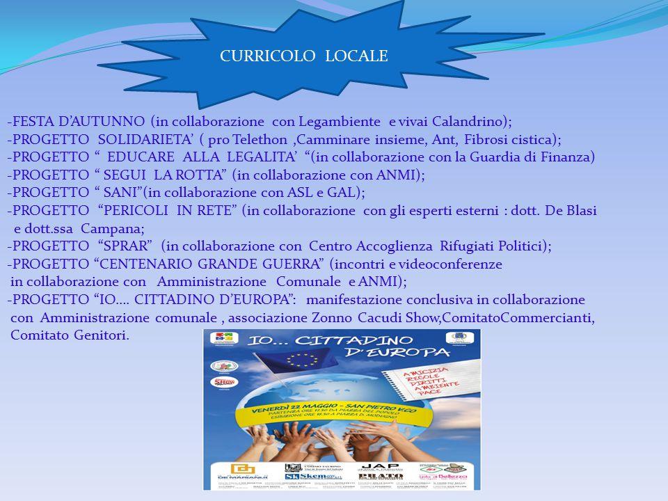 CURRICOLO LOCALE FESTA D'AUTUNNO (in collaborazione con Legambiente e vivai Calandrino);