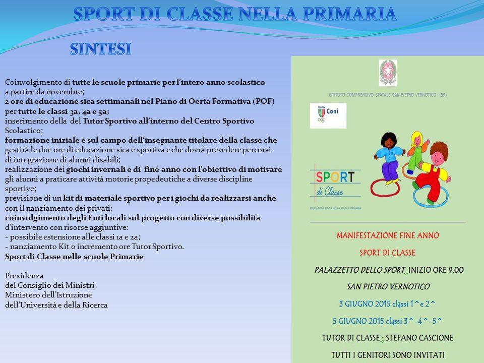SPORT DI CLASSE NELLA PRIMARIA