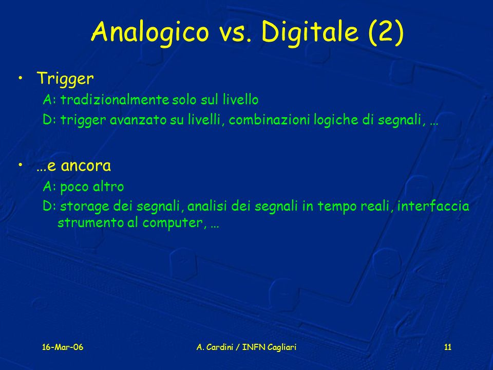 Analogico vs. Digitale (2)