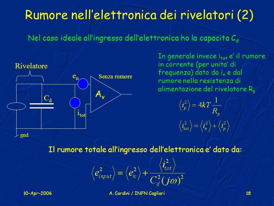 Rumore nell'elettronica dei rivelatori (2)