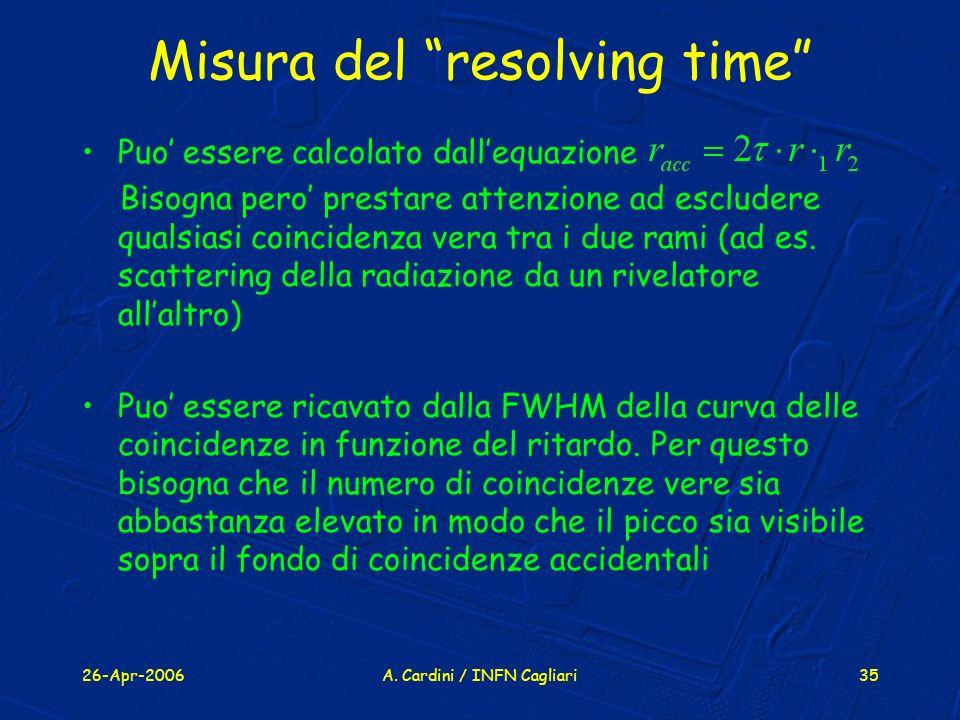 Misura del resolving time