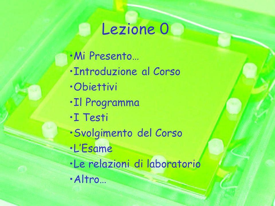 Lezione 0 Mi Presento… Introduzione al Corso Obiettivi Il Programma