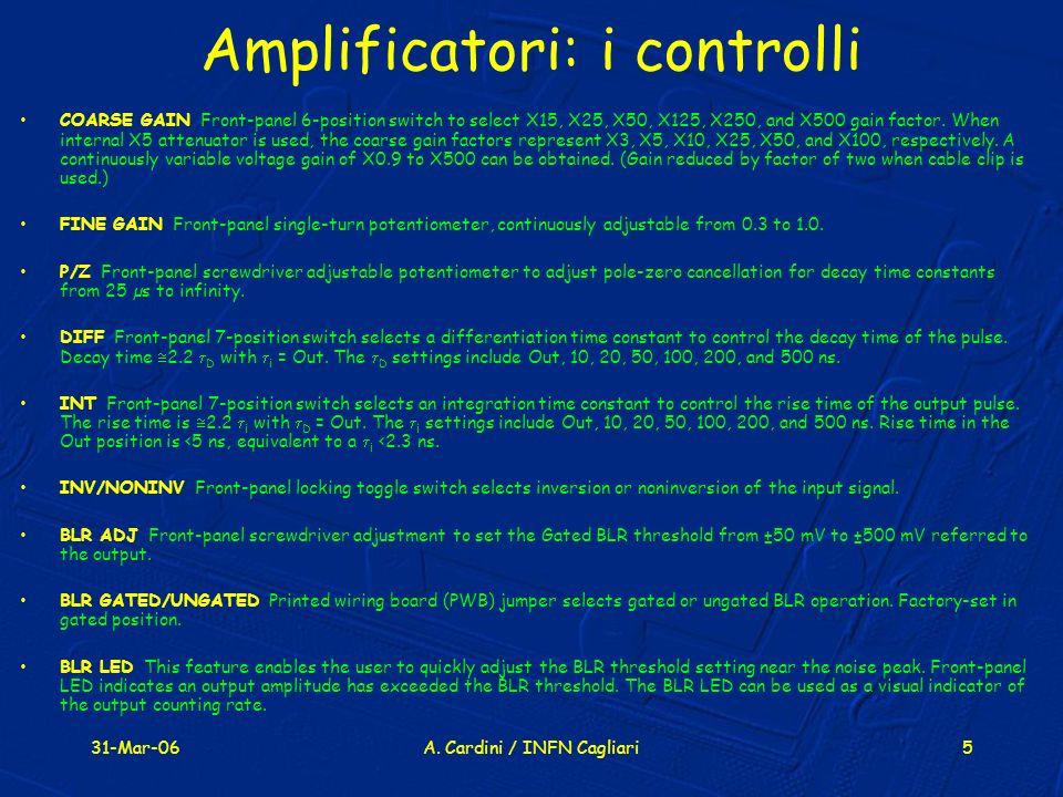 Amplificatori: i controlli