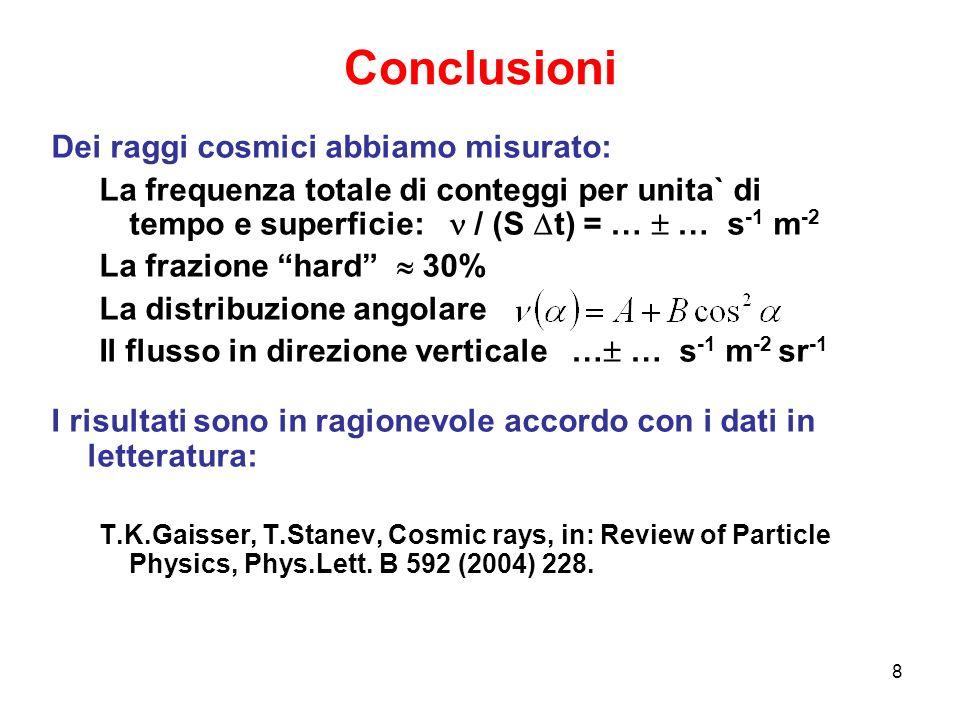 Conclusioni Dei raggi cosmici abbiamo misurato: