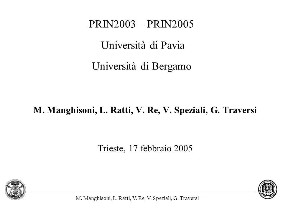 PRIN2003 – PRIN2005 Università di Pavia Università di Bergamo
