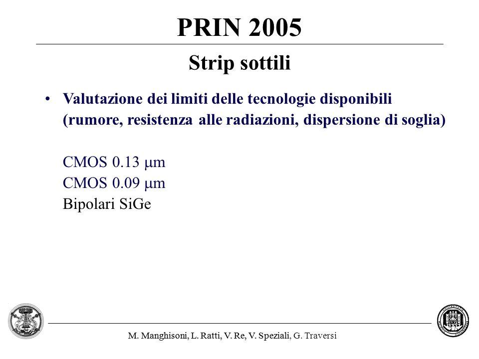 PRIN 2005 Strip sottili. Valutazione dei limiti delle tecnologie disponibili. (rumore, resistenza alle radiazioni, dispersione di soglia)