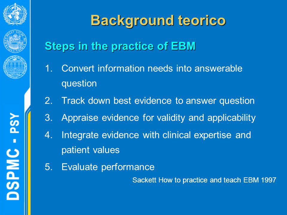Background teorico Steps in the practice of EBM