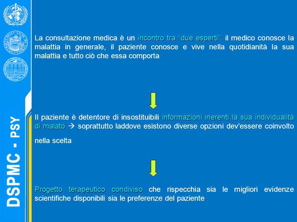 La consultazione medica è un incontro tra due esperti : il medico conosce la malattia in generale, il paziente conosce e vive nella quotidianità la sua malattia e tutto ciò che essa comporta