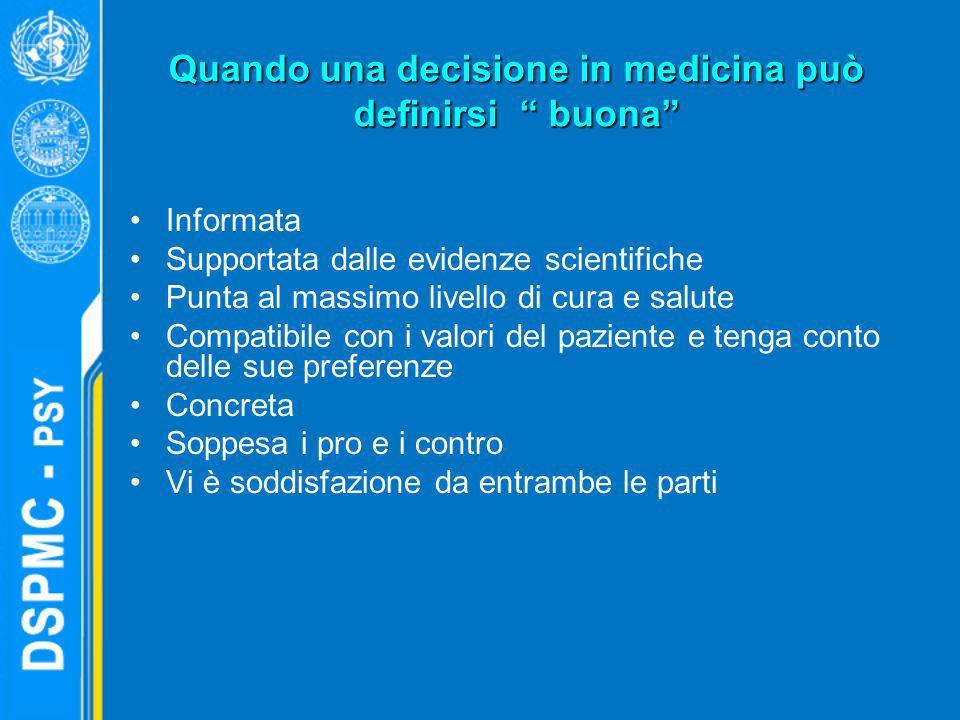 Quando una decisione in medicina può definirsi buona