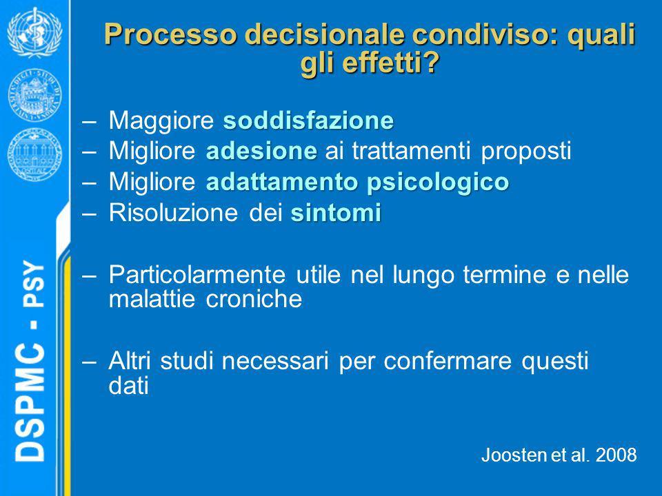 Processo decisionale condiviso: quali gli effetti