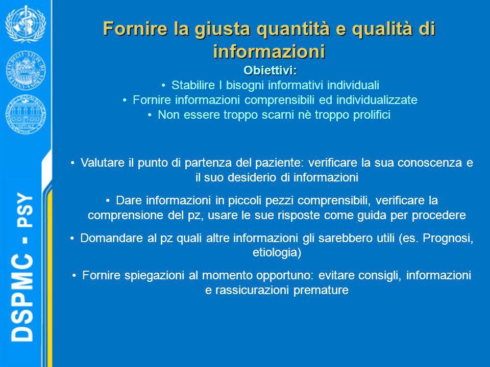 Fornire la giusta quantità e qualità di informazioni