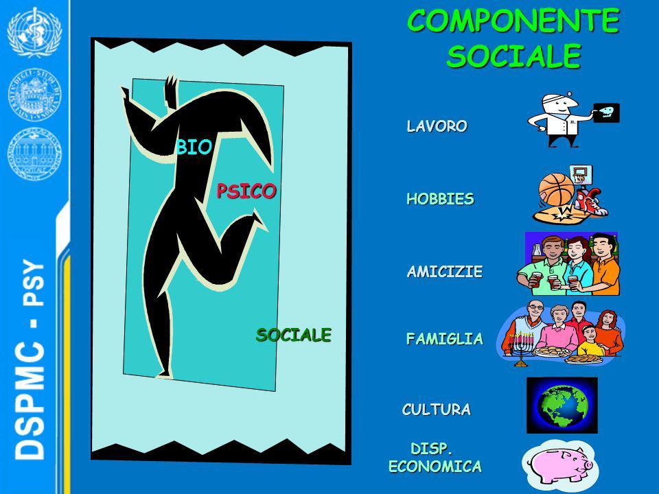 COMPONENTE SOCIALE BIO PSICO SOCIALE LAVORO HOBBIES AMICIZIE FAMIGLIA